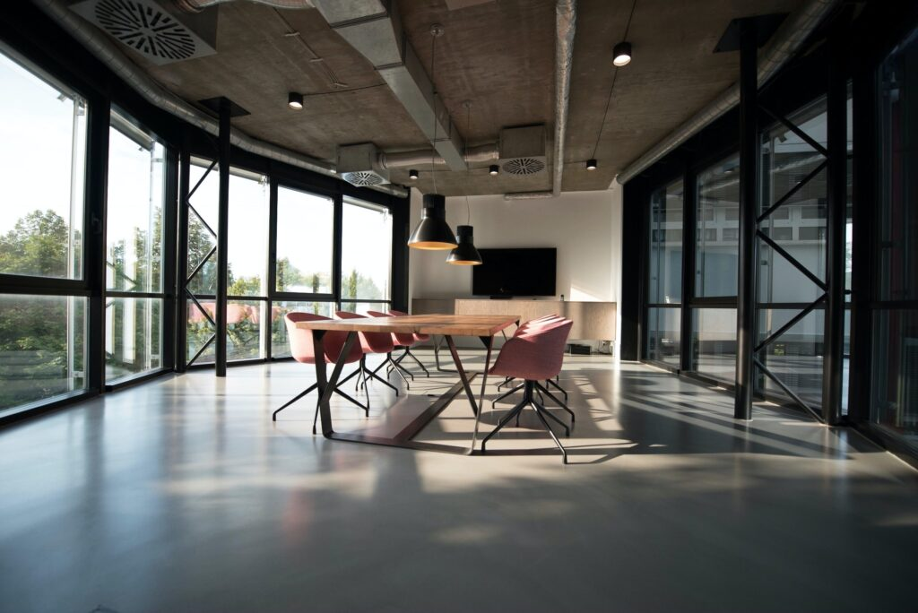 Large meeting room with glass walls